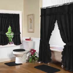 Jcpenney Bathroom Window Curtains by Black Double Swag Shower Curtain