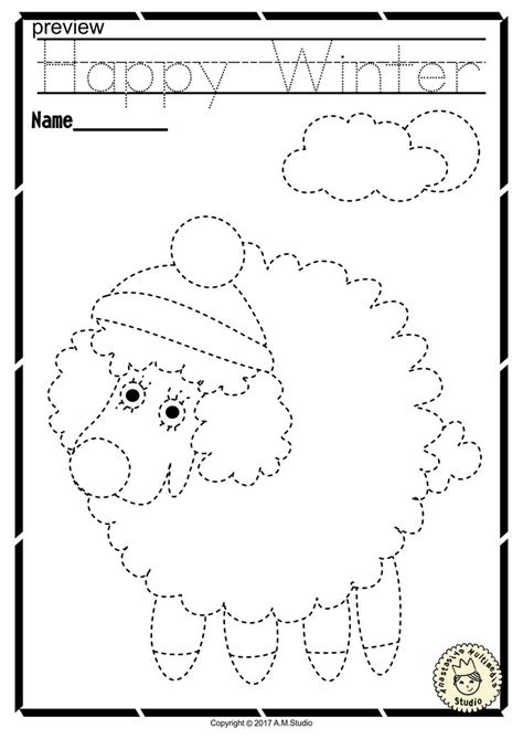 winter trace  color pages fine motor skills pre