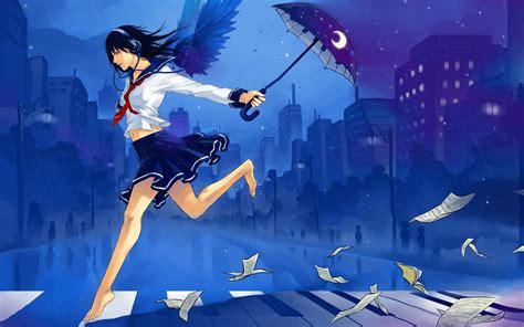 Anime Girl Umbrella Headphones Wallpapers