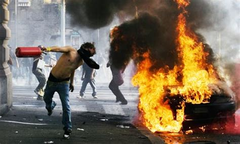 peaceful protest dissolves  riots  rome italy magazine
