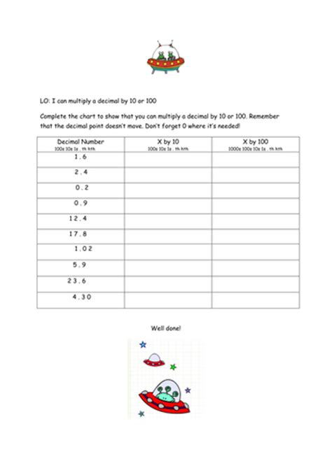 multiplying and dividing decimals by 10 and 100 by laurawigley12 teaching resources