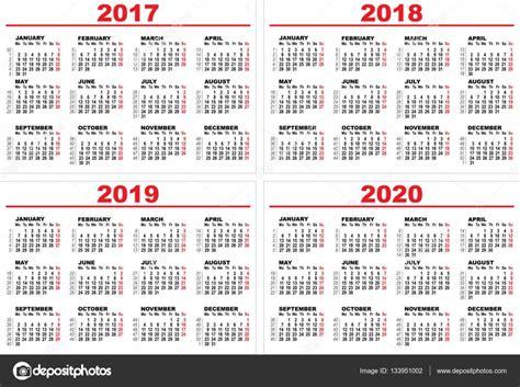 Calendário De Parede Conjunto Grade Para 2017, 2018, 2019