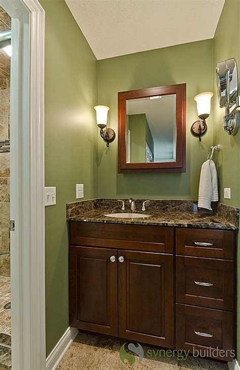 Bathroom Wall Color With Cabinets by Craftsman 3 4 Bathroom Sconces Green With Brown
