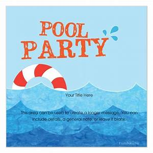 Free pool party invitation template cimvitation for Pool party invites templates
