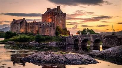 Castle Donan Eilean Landscape Sunset Backiee Wallpapers
