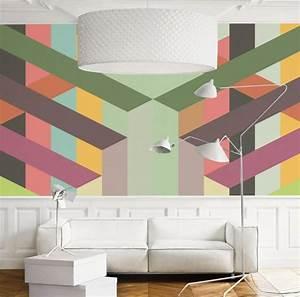 Wand Mit Streifen : wandmuster ideen geometrische formen streichen ~ Frokenaadalensverden.com Haus und Dekorationen