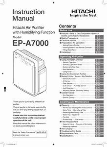 Hitachi Air Cleaner Ep A7000 Users Manual