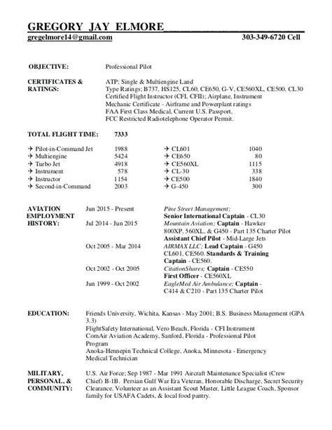 Pilot Resume Template by Professional Airline Pilot Resume Sle Top