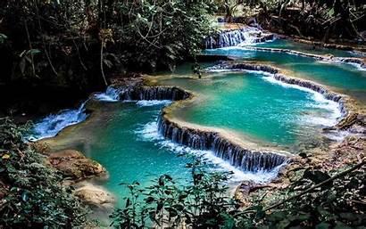Laos Pond Nature Landscape Waterfall Terraces Desktop