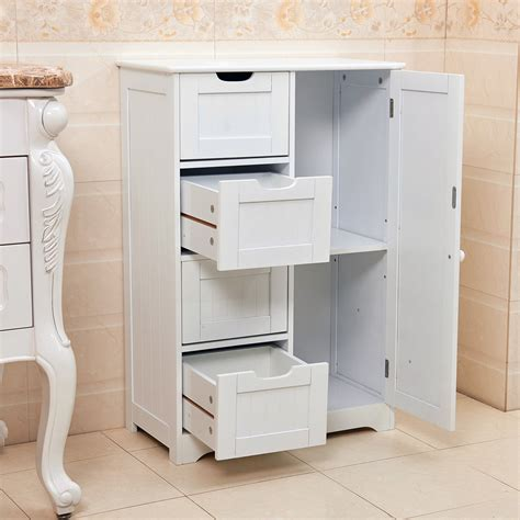 White Cabinet With Drawers by White Wooden 4 Drawer Bathroom Storage Cupboard Cabinet