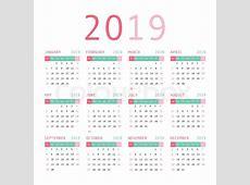 Calendar template design 2019 Week Stock Vector