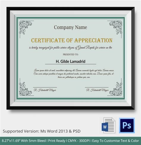 Company Certificate Template by Certificate Of Appreciation Templates 24 Free Word Pdf