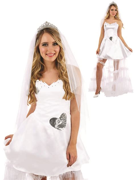Ladies Bride Costume Adults Wedding Hen Night Fancy Dress Womens Party Outfit | eBay