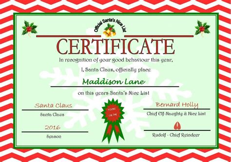personalised santa  nice list certificate design