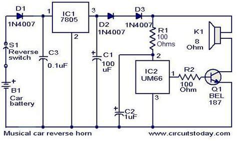 Musical Car Reverse Horn Circuit Electronic Circuits
