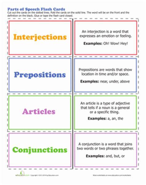 parts of speech worksheet education