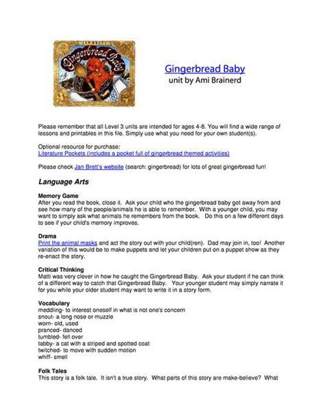 gingerbread baby lesson plans unit study lapbook