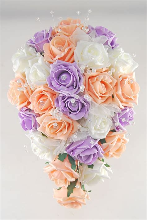 brides peach lilac ivory diamante rose crystal