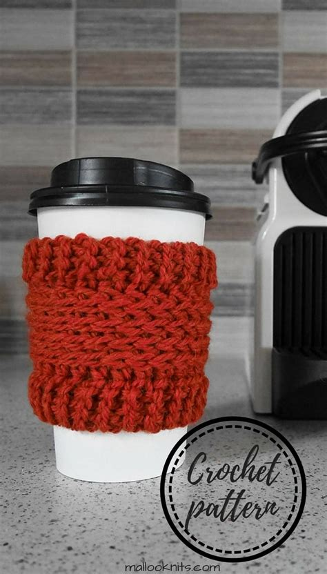 The spider stitch is easy and gray. Crochet coffee cup cozy free pattern - mallooknits.com