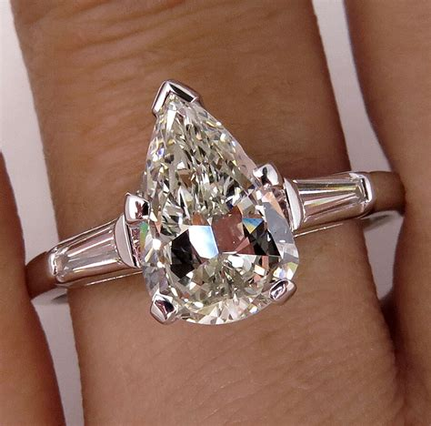 egl usa certified 3 23ct pear cut platinum engagement ring si1 f color ebay