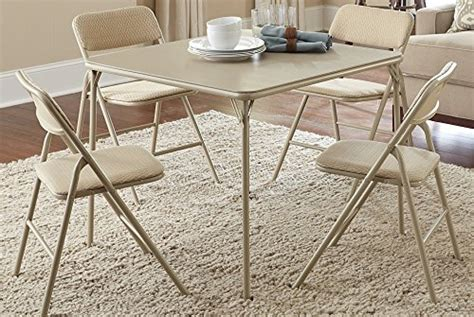 cosco products 5 piece folding table and chair set tan