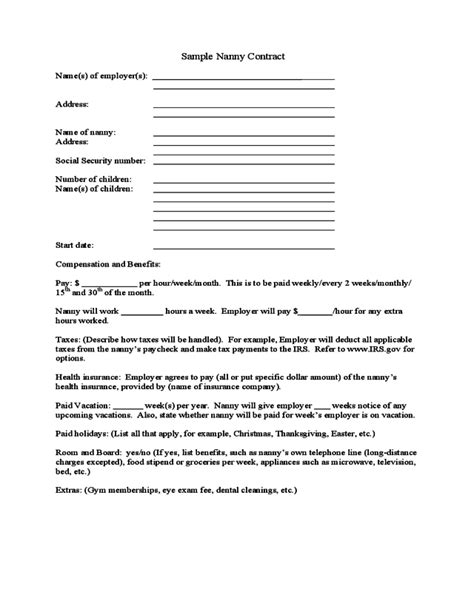 2020 Nanny Contract Template - Fillable, Printable PDF & Forms | Handypdf