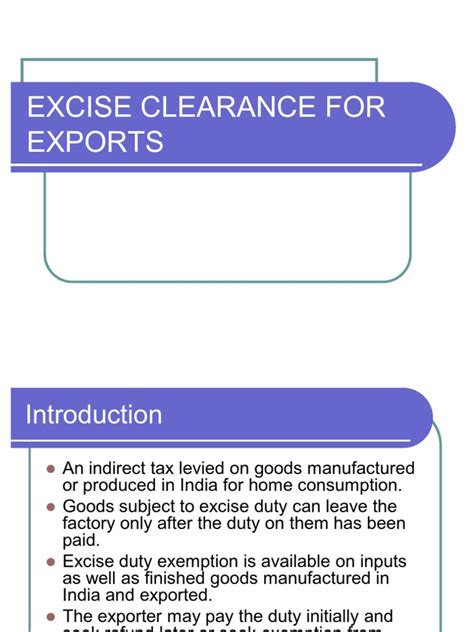 What is export credit insurance? Excise Clearance for Exports