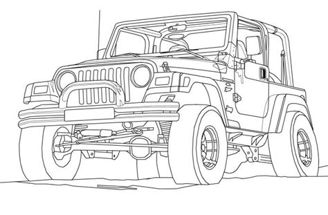 4 door jeep drawing jeep wrangler coloring book page cartoon drawing art