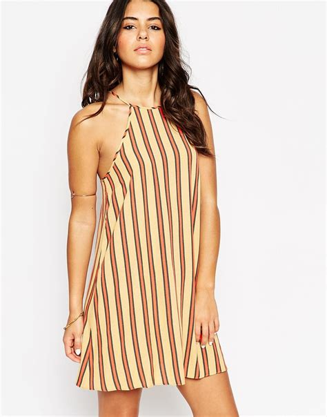 lyst asos sundress in bright stripe with high neck in brown