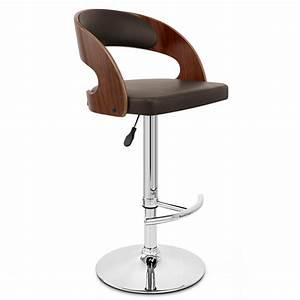 Chaise De Bar Bois : chaise de bar bois chrome eve noyer monde du tabouret ~ Dailycaller-alerts.com Idées de Décoration