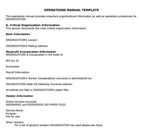 operations and maintenance manual template 9 operations manual sles sle templates