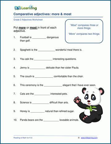 grade  adjectives worksheets  learning