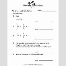 Seventh Grade Math Practice Worksheet  Free Printable Educational Worksheet