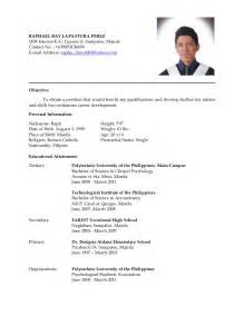 resume format for ojt information technology students should know latest resume