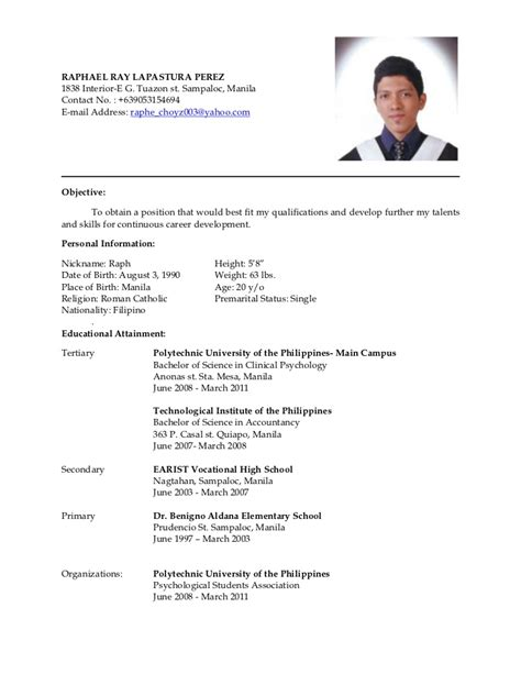 Philippine Resume Free Format In Ms Word by Philippines Resume Sle Resumes Design