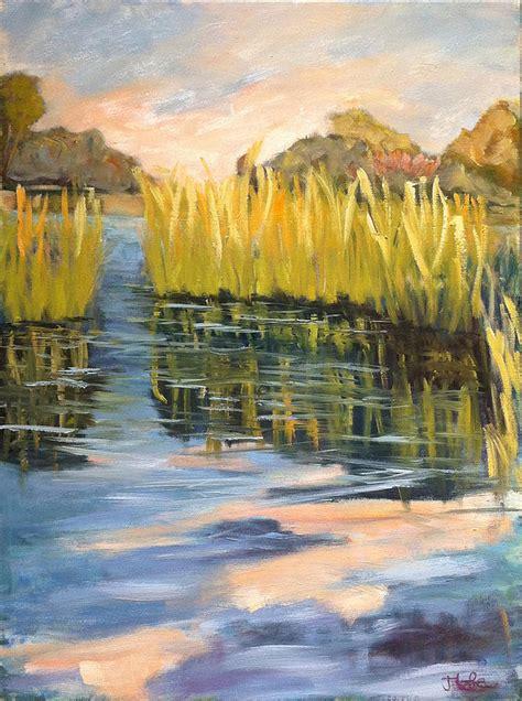 reeds reflecting  water painting  jude lobe