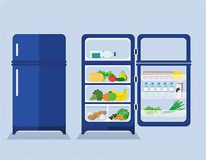 Refrigerator Open Door Fridge Empty Closed Vector