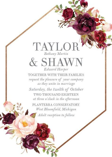 boho floral geometric geometry wedding invitation set