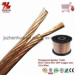 China Ofc Copper Wire Transparent Speaker Cable 2x4mm