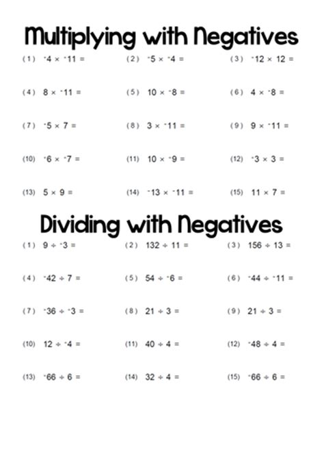 All Worksheets » Multiplying And Dividing Positive And Negative Integers Worksheets Printable