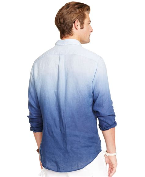 sleeves linen shirt lyst polo ralph dip dyed shirt in blue for