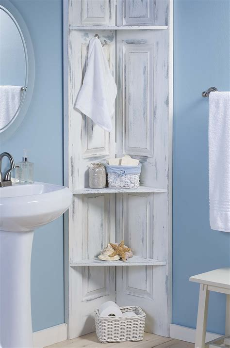 build  bathroom corner shelves  bi fold doors