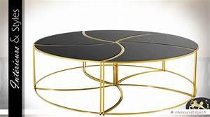 Grande Table Basse Ronde : grande table basse ronde design en m tal dor et verre noir int rieurs styles ~ Teatrodelosmanantiales.com Idées de Décoration