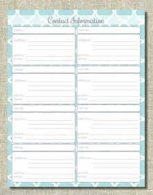 Contact Information Sheet Printable