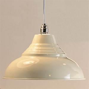 Vintage metal pendant light shade cream
