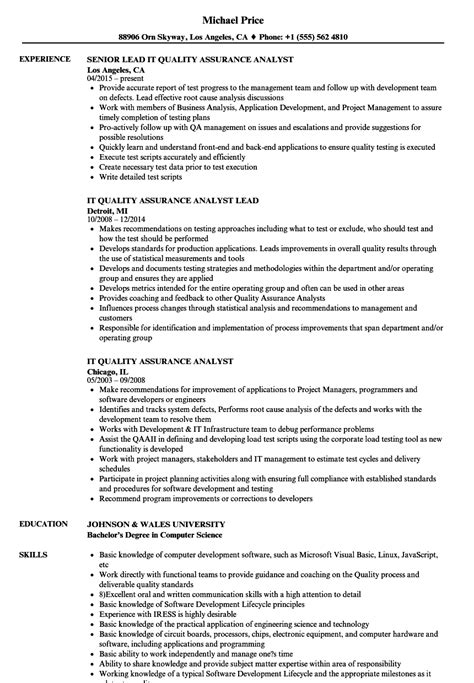 Quality Analyst Resume by It Quality Assurance Analyst Resume Sles Velvet