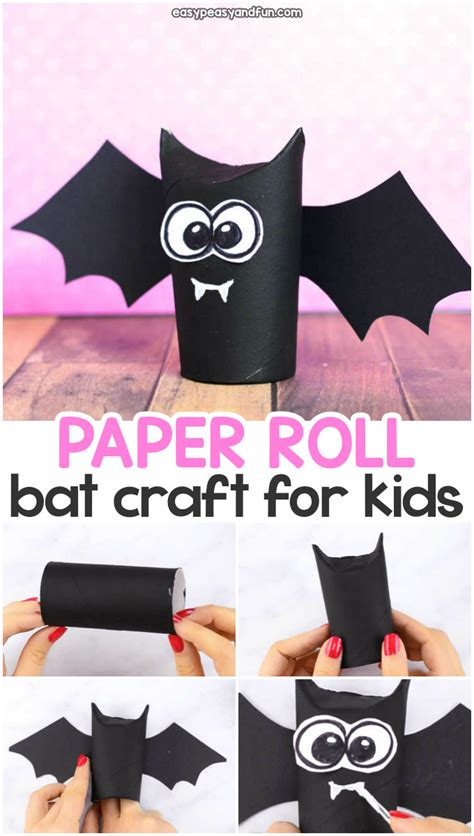 toilet paper roll bat craft great idea  halloween crafting easy peasy  fun