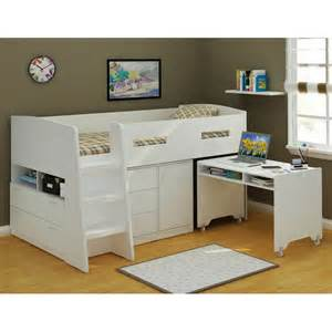 bunk beds with desk and storage whitevan