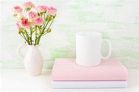 Simple edit with smart layers. Сoffee mug mockup with pink roses PSD Mockup Free Mockups ...