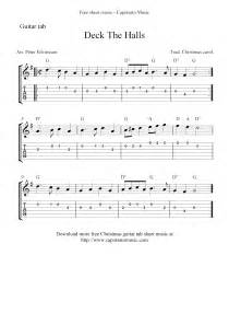 deck the halls free easy guitar tablature sheet music score